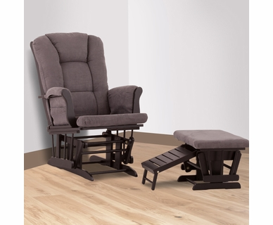 Status Veneto Glider And Nursing Ottoman In Black And Grey