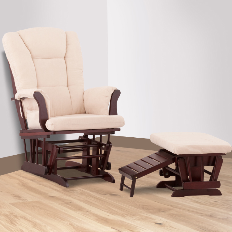 Status Veneto Glider And Nursing Ottoman In Cherry And Beige FREE SHIPPING