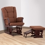 Status Veneto Glider and Nursing Ottoman in Cherry and Chocolate