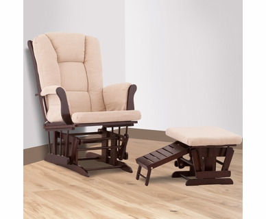 Status Veneto Glider and Nursing Ottoman in Espresso and Beige