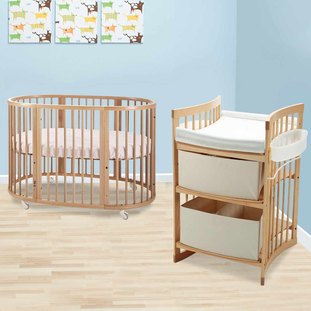 Stokke Sleepi 2 Piece Nursery Set Modern Oval Crib With Mattress And Care Changing Table In Natural Free Shipping