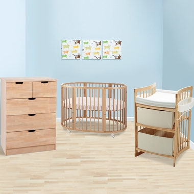 Stokke Sleepi 3 Piece Nursery Set   Modern Oval Crib With Mattress, 5  Drawer Dresser