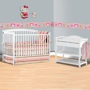 Storkcraft 2 Piece Nursery Set - Bradford 4 in 1 Convertible Crib and Aspen Changing Table with Drawer in White