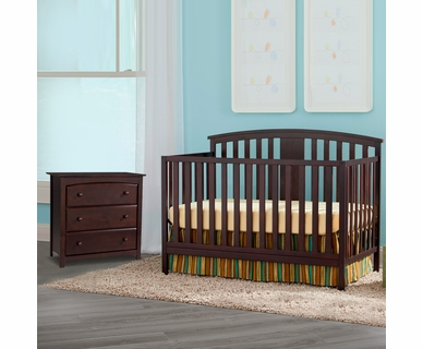 Storkcraft 2 Piece Nursery Set - Greyson Convertible Crib and Kenton 3 Drawer Dresser in Espresso