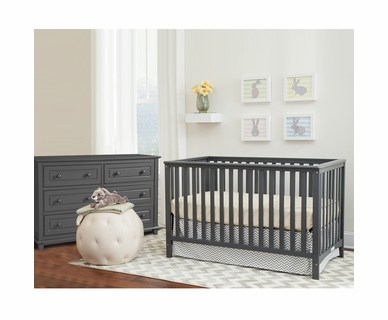 Storkcraft 2 Piece Nursery Set - Hillcrest Convertible Crib and Destin 6 Drawer Dresser in Gray