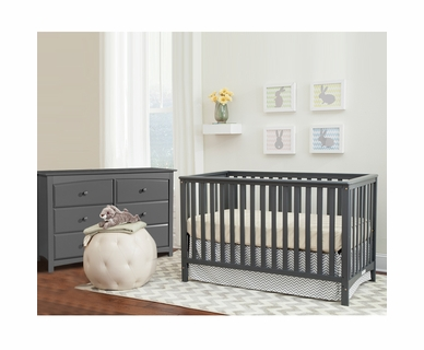 Storkcraft 2 Piece Nursery Set - Hillcrest Convertible Crib and Kenton 6 Drawer Dresser in Gray