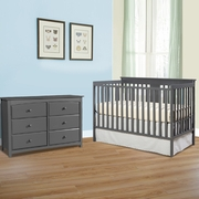 Storkcraft 2 Piece Nursery Set - Mission Ridge Convertible Crib and Kenton 6 Drawer Dresser in Gray