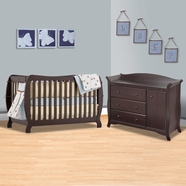 Storkcraft 2 Piece Nursery Set - Monza II 2 in 1 Convertible Crib and Aspen Combo Dresser / Changer in Espresso