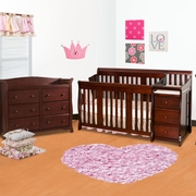 Storkcraft 2 Piece Nursery Set - Portofino Convertible Crib and Avalon 6 Drawer Dresser in Cherry