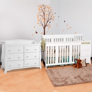 Storkcraft 2 Piece Nursery Set - Portofino Convertible Crib and Avalon 6 Drawer Dresser in White