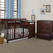 Storkcraft 2 Piece Nursery Set - Portofino Convertible Crib Changer Combo and Beatrice 4 Drawer Dresser in Espresso