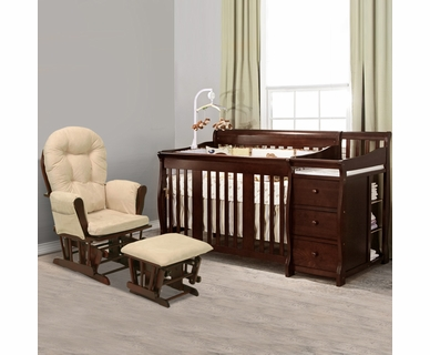 Storkcraft 2 Piece Nursery Set - Portofino Convertible Crib Changer Combo and Bowback / Hoop Glider & Ottoman in Cherry