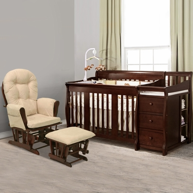 Storkcraft 2 Piece Nursery Set - Portofino Convertible Crib Changer Combo and Bowback / Hoop Glider & Ottoman in Cherry - Click to enlarge