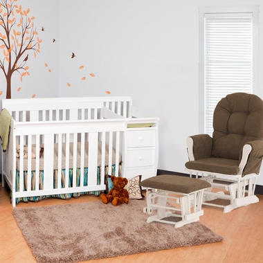 Storkcraft 2 Piece Nursery Set - Portofino Convertible Crib Changer Combo and Hoop Glider and Ottoman in White - Click to enlarge