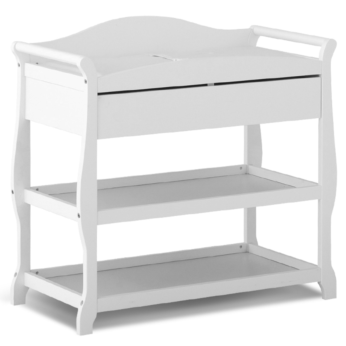 Storkcraft 2 Piece Nursery Set   Princess 4 In 1 Fixed Side Convertible  Crib And Aspen Changing Table In White FREE SHIPPING