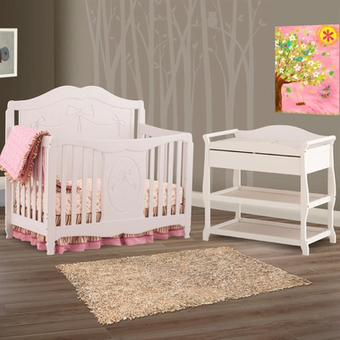 Storkcraft 2 Piece Nursery Set - Princess 4-in-1 Fixed Side Convertible Crib and Aspen Changing Table in White