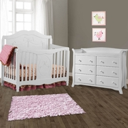 Storkcraft 2 Piece Nursery Set - Princess Convertible Crib and Avalon 6 Drawer Double Dresser in White