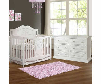 Storkcraft 2 Piece Nursery Set - Princess Convertible Crib and Concord 6 Drawer Dresser in White