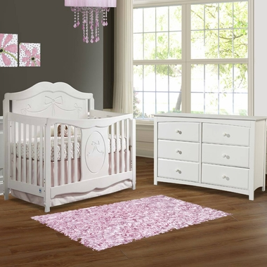 Storkcraft 2 Piece Nursery Set - Princess Convertible Crib and Kenton 6 Drawer Dresser in White