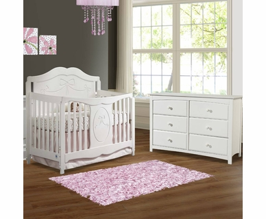 Storkcraft 2 Piece Nursery Set Princess Convertible Crib And Kenton 6 Drawer Dresser In White