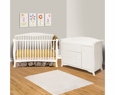 Storkcraft 2 Piece Nursery Set - Savona Fixed Side Convertible Crib and Aspen Combo Dresser / Changer in White