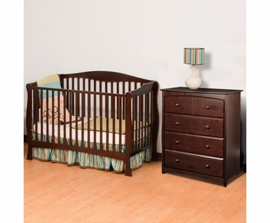 Storkcraft 2 Piece Nursery Set - Savona Fixed Side Convertible Crib and Beatrice 4 Drawer Dresser in Espresso