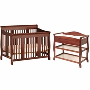 Storkcraft 2 Piece Nursery Set - Tuscany Stages 4 in 1 Convertible Crib, Aspen Changing Table in Cherry