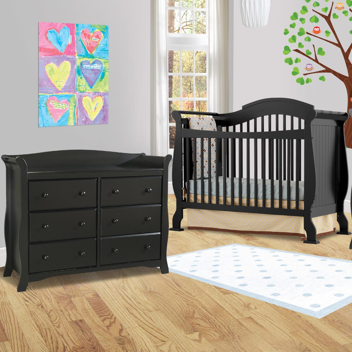 Storkcraft 2 Piece Nursery Set Valentia Convertible Crib And Avalon 6 Drawer Double Dresser In Cherry Free Shipping