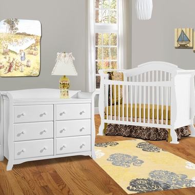 Storkcraft 2 Piece Nursery Set Valentia Convertible Crib And Avalon 6 Drawer Double Dresser In