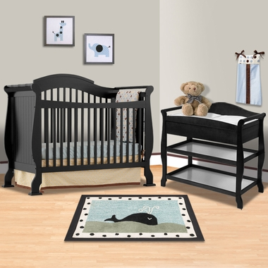 Storkcraft Black Valentia Fixed Side Convertible Crib and Aspen ...