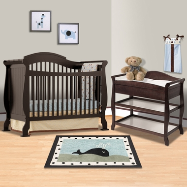 Storkcraft Espresso Valentia Fixed Side Convertible Crib And Aspen Changing Table 2