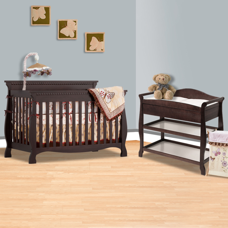 Storkcraft Espresso Venetian 4 In 1 Convertible Crib And Aspen Changing Table With Drawer 2 Piece Nursery Set Free Shipping