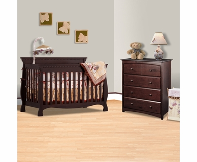 Storkcraft 2 Piece Nursery Set - Venetian 4 in 1 Convertible Crib and Beatrice 4 Drawer Dresser in Espresso