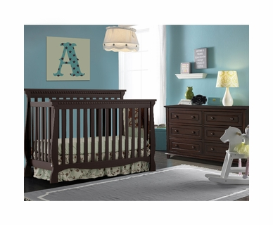Storkcraft 2 Piece Nursery Set - Venetian Convertible Crib and Destin 6 Drawer Dresser in Espresso