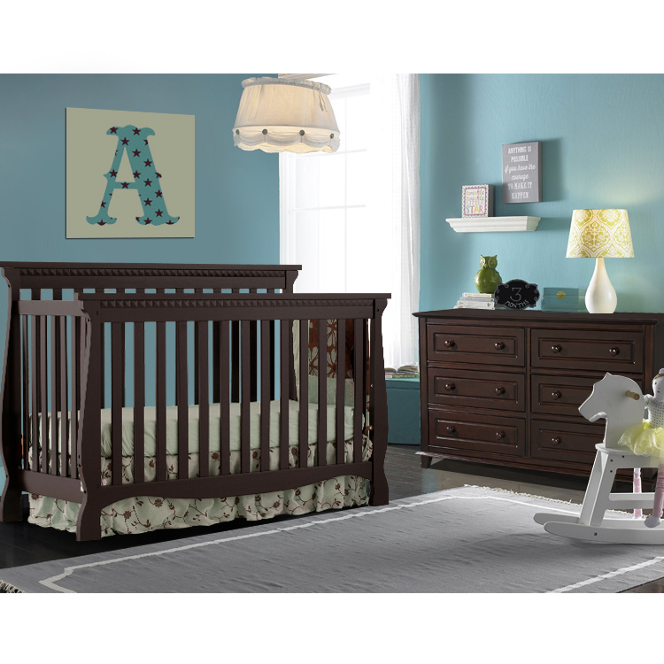 Storkcraft 2 Piece Nursery Set Venetian Convertible Crib And Destin 6 Drawer Dresser In Espresso Free Shipping
