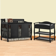 Storkcraft 2 Piece Nursery Set - Verona Convertible Crib and Aspen Changing Table in Black