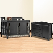 Storkcraft 2 Piece Nursery Set - Verona Convertible Crib and Aspen Combo Dresser/ Changer in Black
