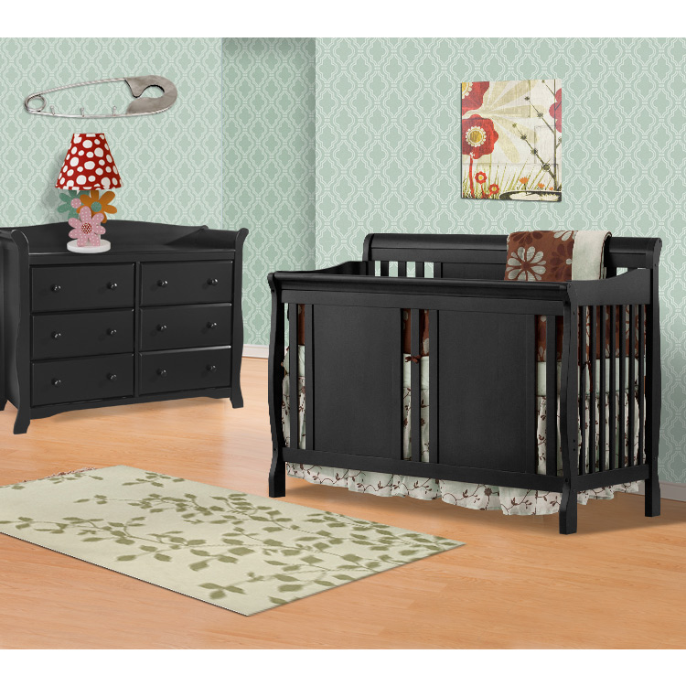 Storkcraft 2 Piece Nursery Set Verona Convertible Crib And Avalon 6 Drawer Double Dresser In Black Free Shipping
