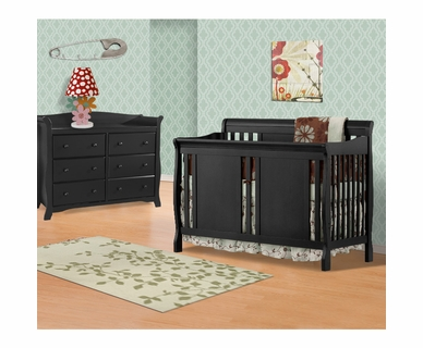 Storkcraft 2 Piece Nursery Set - Verona Convertible Crib and Avalon 6 Drawer Double Dresser in Black