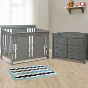 Storkcraft 2 Piece Nursery Set - Verona Convertible Crib and Avalon 6 Drawer Double Dresser in Gray