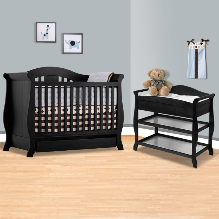 Storkcraft Black Vittoria 3 In 1 Convertible Crib And Aspen Changing Table With Drawer 2 Piece Nursery Set Free Shipping