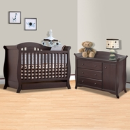 Storkcraft 2 Piece Nursery Set - Vittoria 3 in 1 Convertible Crib and Aspen Combo Dresser / Changer in Espresso
