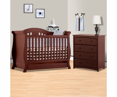 Storkcraft 2 Piece Nursery Set - Vittoria 3 in 1 Convertible Crib and Beatrice 4 Drawer Dresser in Cherry