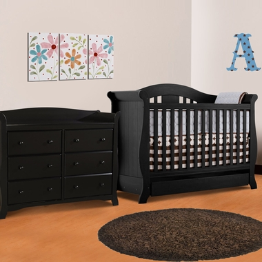 Storkcraft 2 Piece Nursery Set - Vittoria Convertible Crib and Avalon 6 Drawer Dresser in Black - Click to enlarge
