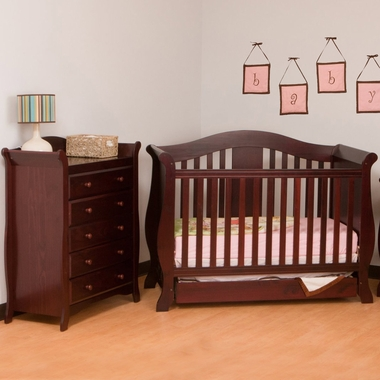 Storkcraft 2 Piece Nursery Set Vittoria Convertible Crib And Avalon 5 Drawer Dresser In Cherry