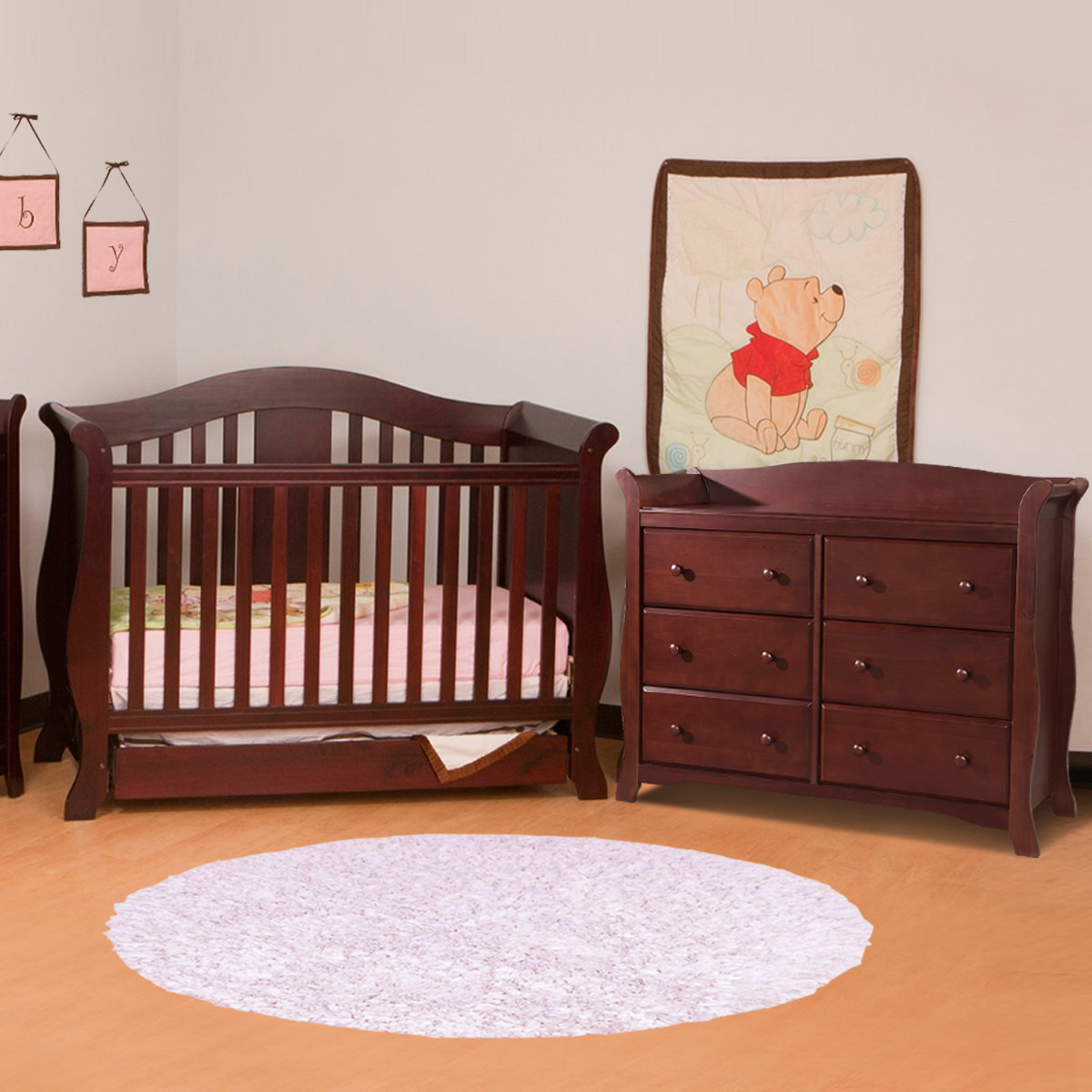 Storkcraft 2 Piece Nursery Set Vittoria Convertible Crib And Avalon 5 Drawer Dresser In Cherry Free Shipping