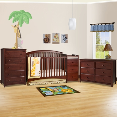 Storkcraft 3 Piece Nursery Set Bradford Convertible Crib Kenton 5 Drawer Dresser And 6