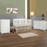 Storkcraft 3 Piece Nursery Set - Mission Ridge Convertible Crib, Kenton 5 Drawer Dresser and 6 Drawer Dresser in White