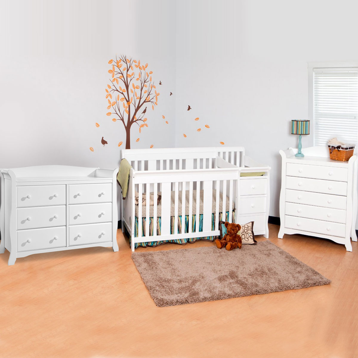 Storkcraft 3 Piece Nursery Set Portofino Convertible Crib Avalon 5 Drawer Dresser And 6 In White Free Shipping