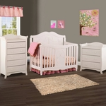 Storkcraft 3 Piece Nursery Set - Princess 4-in-1 Fixed Side Convertible Crib, Aspen 3 Drawer Dresser and Aspen 5 Drawer Dresser in White